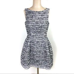 Zara Woman Tweed Tulip Silver Grey Metallic Dress